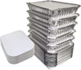 "55 Pack - 2.25 LB Aluminum Pan/Containers with Lids/To Go Containers/Aluminum Pans with Lids/Take Out Containers/Aluminum Foil Food Containers From Spare - 2.25Lb Capacity 8.5"" x 6"" x 1.5"""