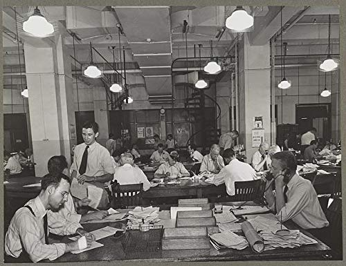 HistoricalFindings Photo: News Room,New York Times Newspaper,Telegraph Desk,Make-up Desk,1942,Copy Readers