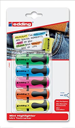 edding Textmarker edding 7 mini highlighter, 1-3 mm, sortierte Blisterkarte