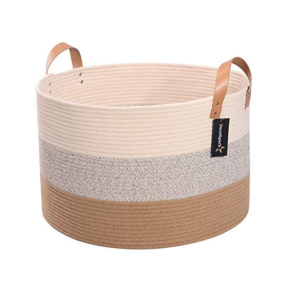 Decospark XXXL Extra Large Cotton Rope Basket For Toy And Blanket Storage | 21.7″ x 13.8″ | Woven Bin With Soft Long Handles | Decorative Home Organizer Ideal For Living Room, Baby Clothes And Laundry