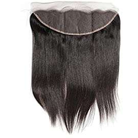 A2ZWIG Brazilian Remy Human Hair 13×4 Pre Plucked Natural Hairline Bleached Knots Lace Frontal Straight Closure