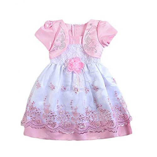 Verypoppa Baby Girls Puff Sleeve Floral Embroidery Princess Tulle Tutu Dress (0-1 Years, Pink (Prime)) ()