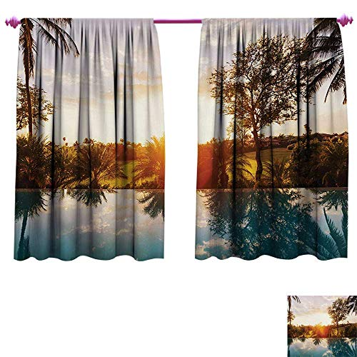 (cobeDecor Hawaiian Drapes for Living Room Home with Swimming Pool at Sunset Tropics Palms Private Villa Resort Scenic View Window Curtain Fabric W72 x L45 Orange Teal)
