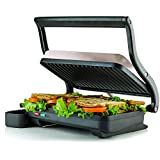 Ovente 2-Slice Electric Panini Press Grill and Gourmet Sandwich Maker with Auto Shut-Off, Drip Tray Included, Nickel Brushed (GP0620BR)