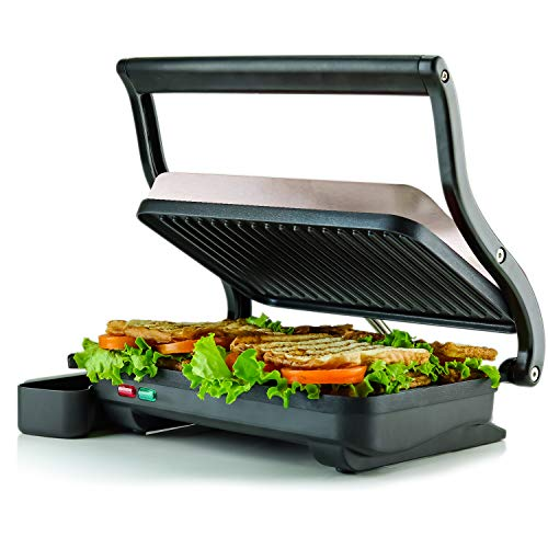 Ovente 2-Slice Electric Panini Press Grill and Gourmet Sandwich Maker with Auto Shut-Off, Drip Tray Included, Nickel Brushed (GP0620BR) from Ovente