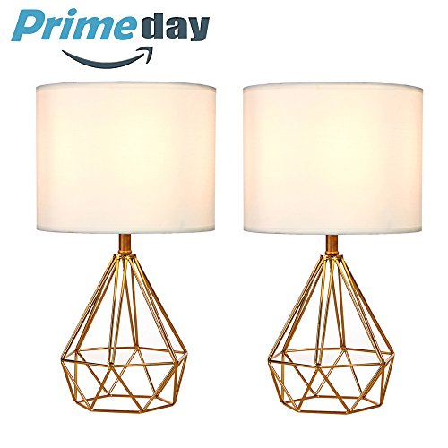 SOTTAE Golden Hollowed Out Base Modern Lamp Bedroom Livingroom Beside Table Lamp, 16