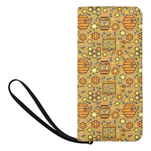 InterestPrint Women's Bee Honey Jar Zip Around Wallet Evening Bags with Card Slot for Women (Honey Bee Jar)