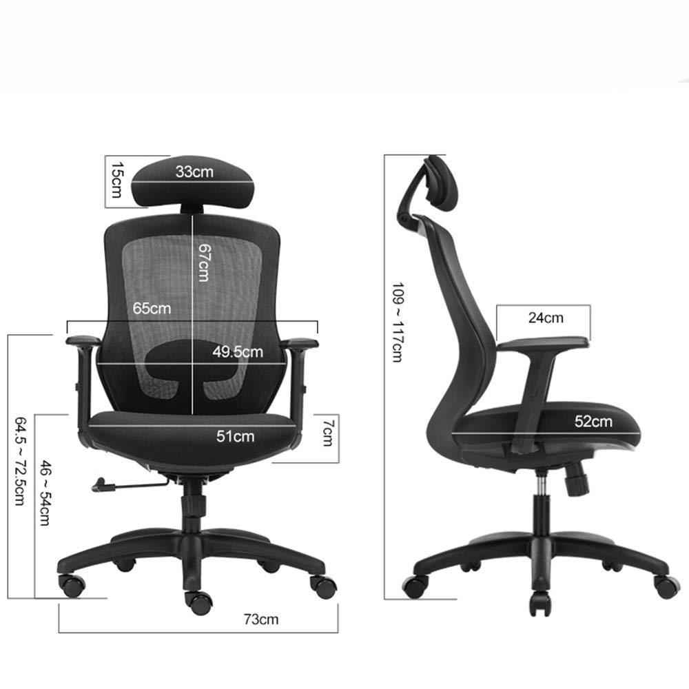 Xiuyun datorstol svängbar kontorsstol arbetsrum andningsbar nät E-sport explosionssäker pneumatisk stång svamp med hög täthet justerbar nackstödsplast (färg: Röd) Svart