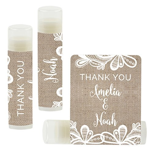 Andaz Press Personalized Wedding Party Lip Balm Party Favors, Burlap Lace, Thank You, Bride & Groom Names and Date, 12-Pack, Custom