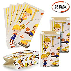 Moji Bags 25 Bolsas de Regalo de Construcción - Bolsas de Regalo de Papel Niños, Bolsas de Golosinas Ideales para Fiestas de Cumpleaños Eventos ...