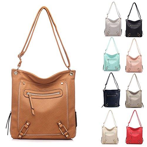 Grande borsa zip frontale effetto e una tasca con cerniera Messenger Croce Corpo Borsa a tracolla Dusty Pink (GU536)