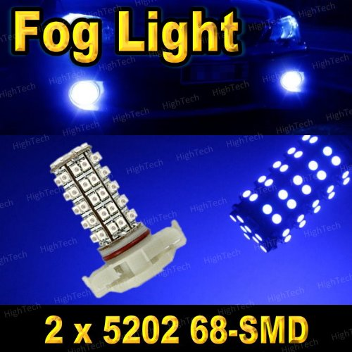 2 PCS Ultra Blue H16 68-SMD LED Headlight Bulbs For Driving Fog Light / Day Time Running Light DRL (Cross Reference: 2504 / 5200S / 5201 / 5202 / 9009 / PSX24W )