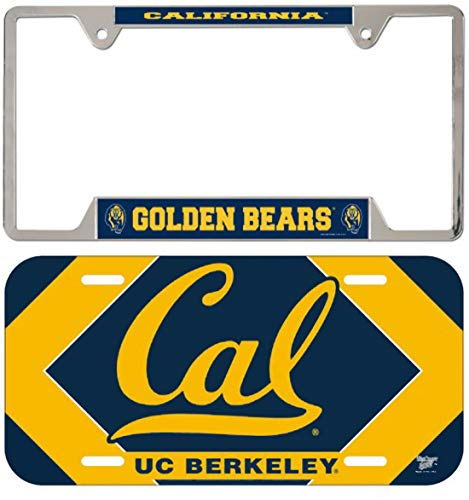 Bundle 2 Items: University of California, Berkeley Golden Bears 1 Metal License Plate Frame & 1 Thin Plastic License Plate