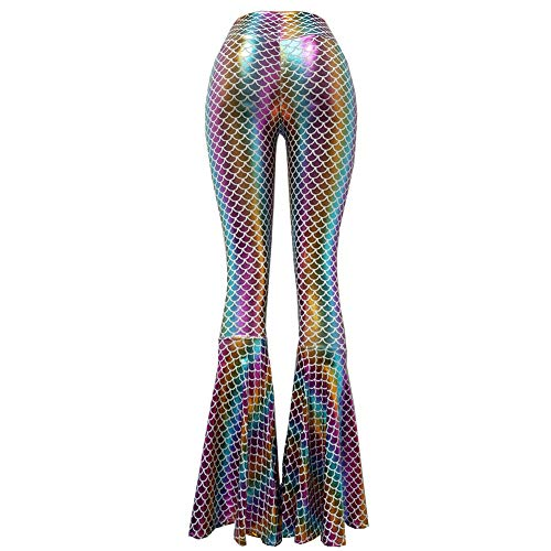 Scale Bell - Iridescent Mermaid Scale Party Halloween Costumes Holographic High Waisted Wide Leg Yoga Bell Bottoms Flare Pants Leggings (S, 375RWMD)