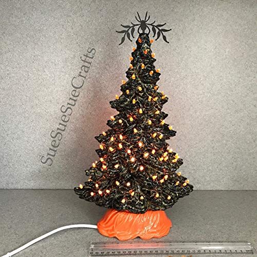Halloween Ceramic Tree.15 inches tall, orange colored twist