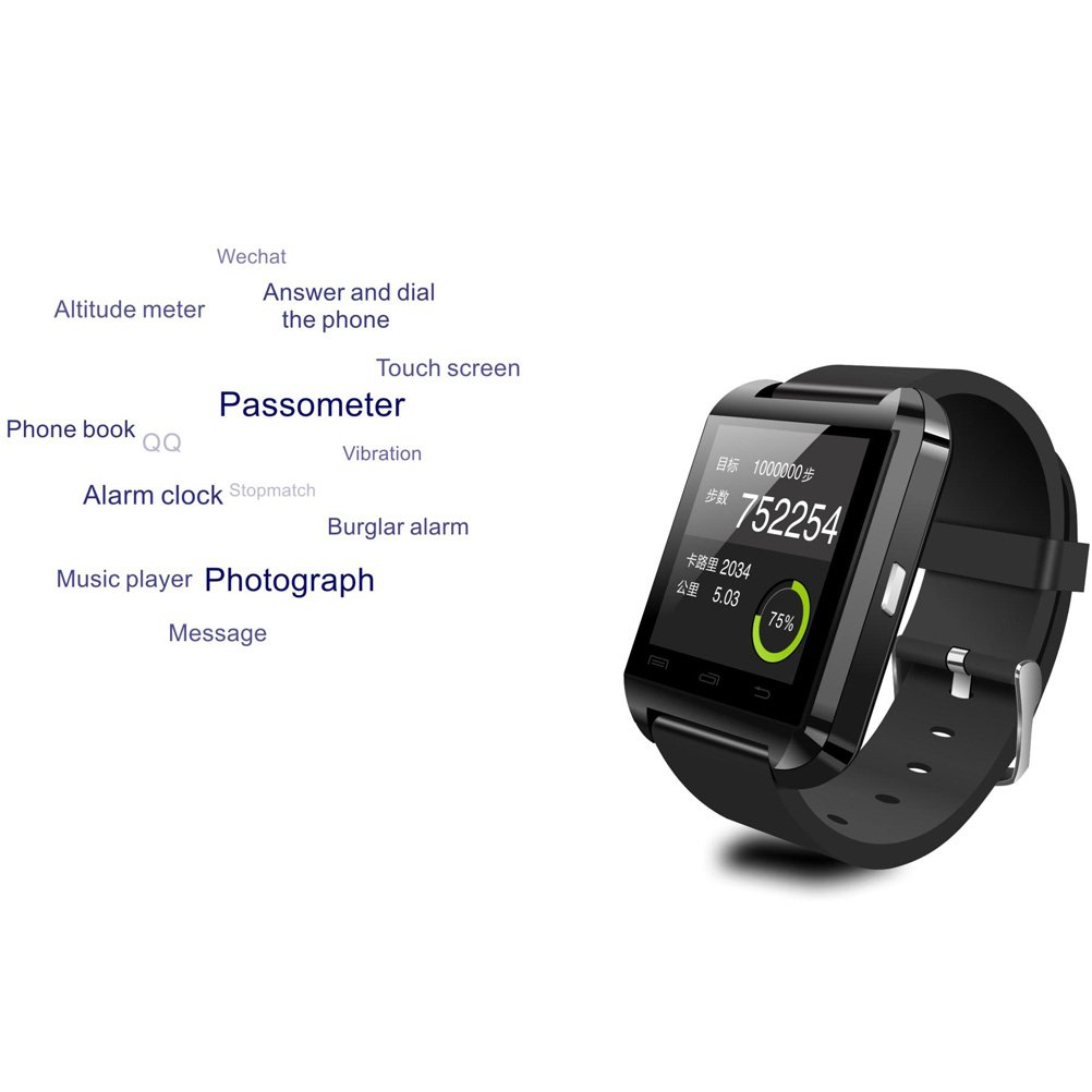 DREAMUS®HOT!!! U8 Bluetooth Smart Wristband Watch Phone for Android Samsung S2/S3/S4/S5/Note 2/Note 3 HTC...(IOS System and Blackberry System Can Use ...
