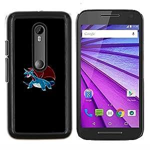 Meter Monster Blue Dragon- Metal de aluminio y de plástico duro Caja del teléfono - Negro - Motorola Moto G (3rd gen) / G3