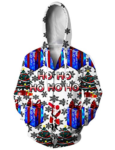 UNIFACO Women Men 3D Full Zip Hoodie Santa Gift Box Pullover Hoodie Sweatshirt Jacket with Pockets Large