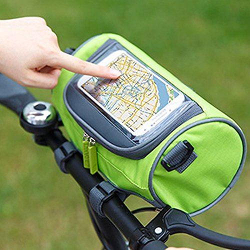 (Ravifun Handlebar Bag, Waterproof Bicycle Bike Front Storage Bag with Touchscreen Transparent PVC Pouch Smartphone Holder and Removable Shoulder Strap, Green)