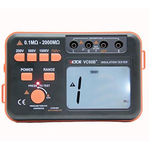 Megohmmeter Insulation Tester (VICTOR VC60B+ Digital Insulation Resistance Tester Megohm Meter DC250/500/1000V AC750V Orange with Black )
