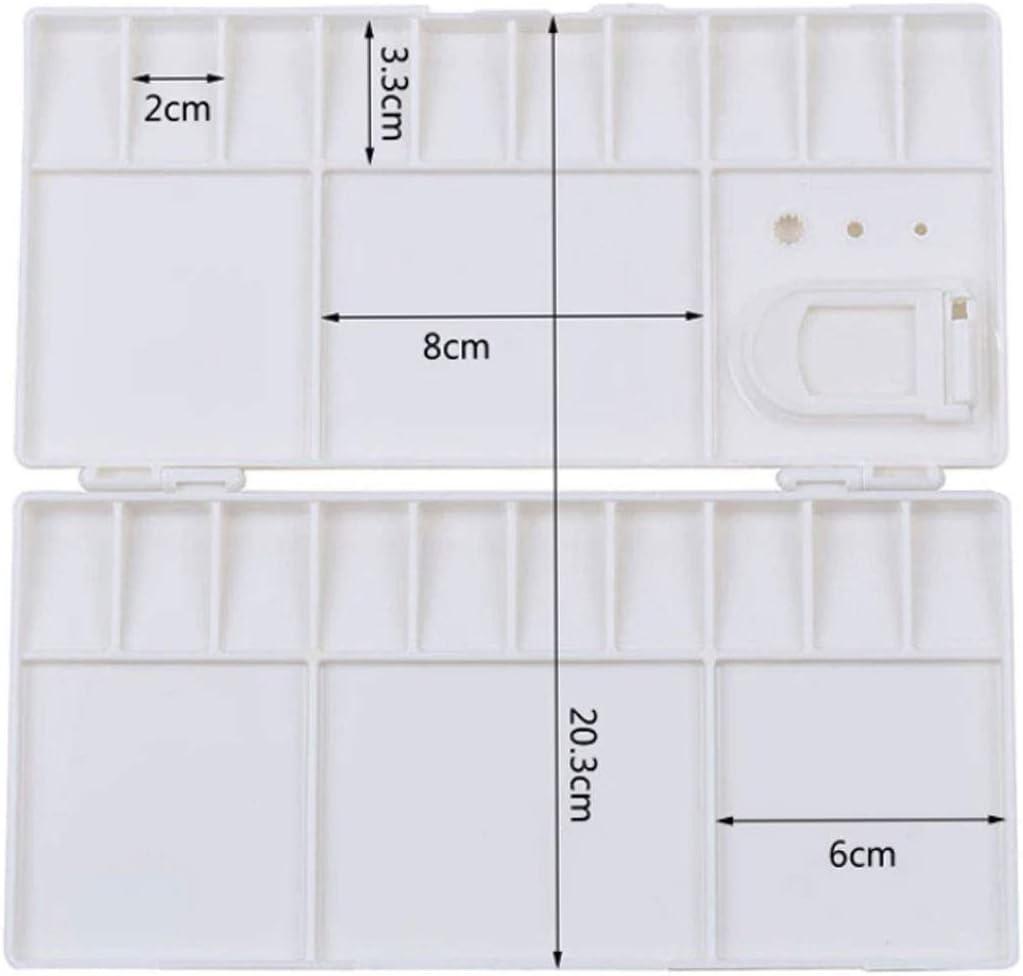 20 Wells Thumbhole Holders Folding Paint Trays Box Watercolor Plastic Palettes