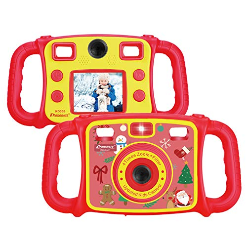 Prograce Kids Camera Dual Camera Selfie Digital Video Camera Camcorder for Boys Girls with 4X Digital Zoom, Flash Light and Funny Game(Red)