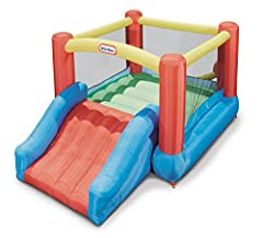 The Little Tikes Jr. Jump N Slide is an extra fun bouncy bouncer! It features an enclosed bounce area and an extra-wide slide that lets 2 kids race, making this slide irresistible! This compact design makes it easy to transport and set up alm...