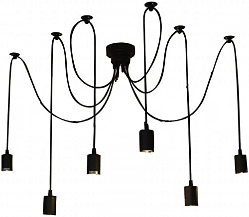 Ganeed Chandeliers,8-Light French Country Crystal Candle Chandelier,Industrial Black Vintage Pendant Light Fixture Hanging Lights for Living Room Kitchen Dinner Room Island Kitchen
