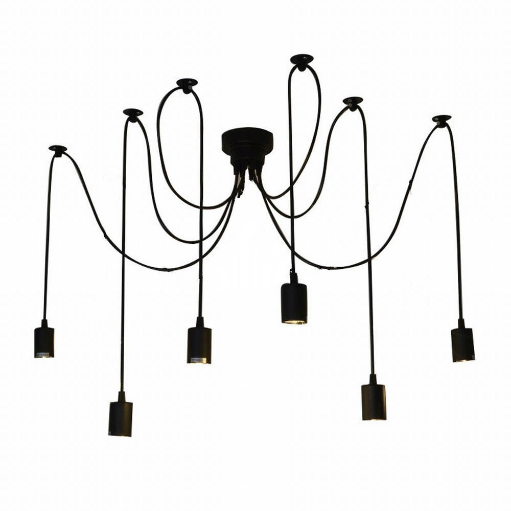 Lightess Vintage Multiple Adjustable DIY Ceiling Spider Pendant Lighting  Chandelier (6 Heads) - - Amazon.com