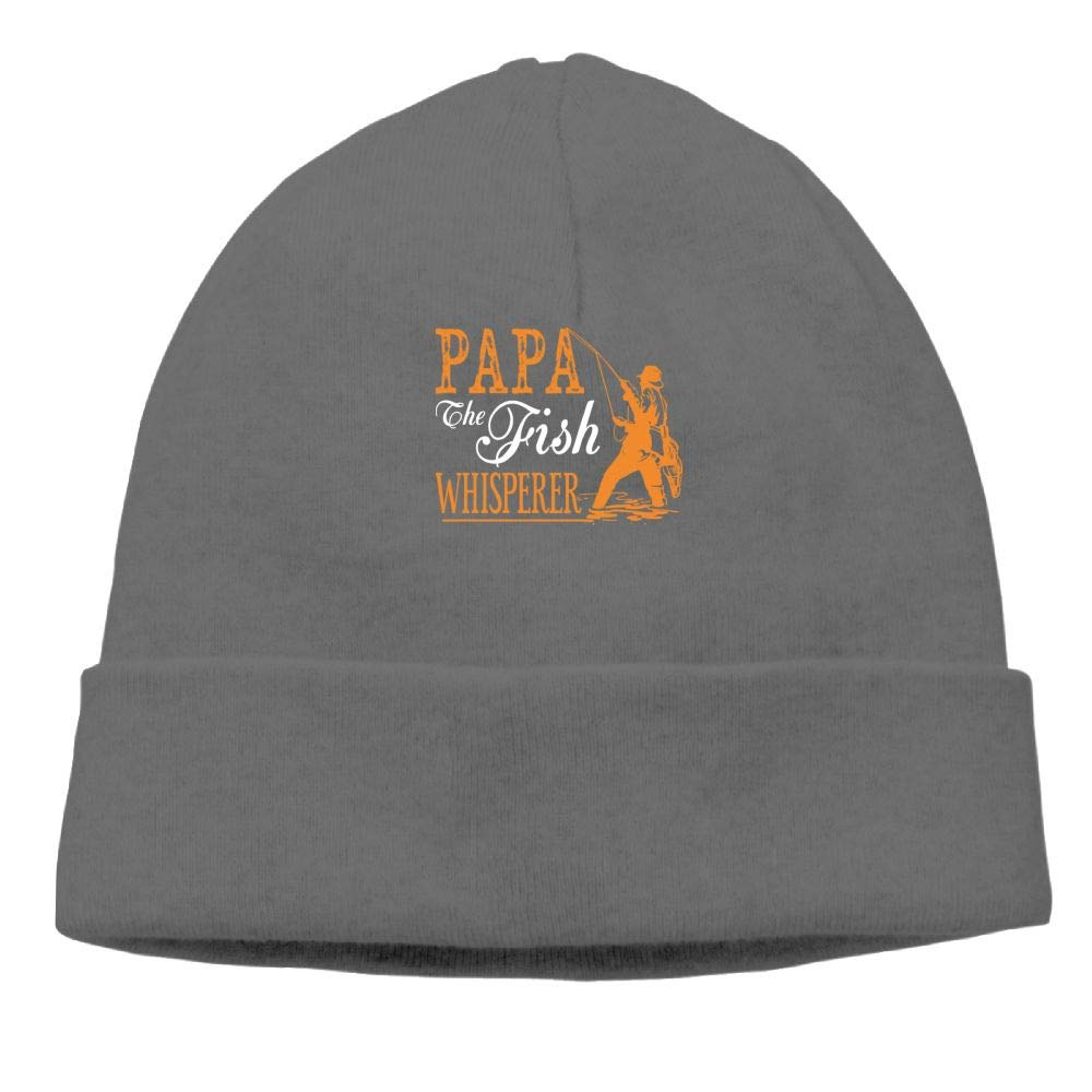 Beanie Knit Hats Skull Caps Papa Fish Whisperer Mens DeepHeather