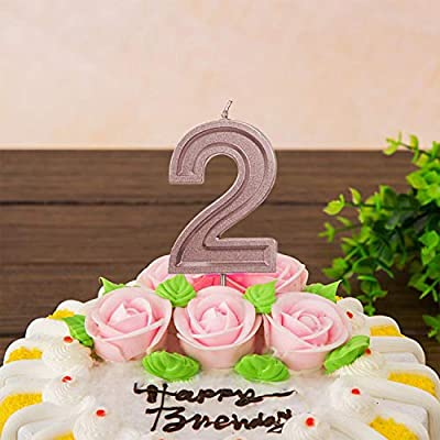 LUTER 2.76 Inches Large Rose Gold Glitter Birthday Candles Birthday Cake Candles Number Candles Cake Topper Decoration for Wedding Party Kids Adults, Number 9: Home & Kitchen