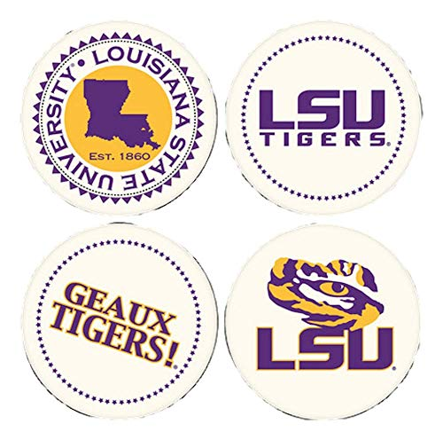 - Coasting & Hosting Absorbent Set of Four Coasters, NCAA Louisiana State University LSU Tigers Mike
