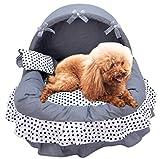 Legendog Dog Sofa, Dog Cushion Bed Decorative Lace Bow Detachable Washable Dog Sleeping Bed Pet Bed With Pillow M