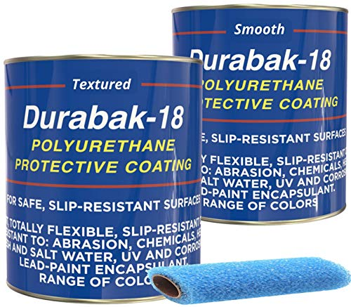(Durabak Marine Liner Kit - DIY Non-Slip Deck Floor Coating, Polyurethane Boat Paint, 1 Coat Textured, 1 Coat Smooth, Used by US Navy, one Part, Easy Application (Light Gray, 2 Gallons - 120sq.ft))