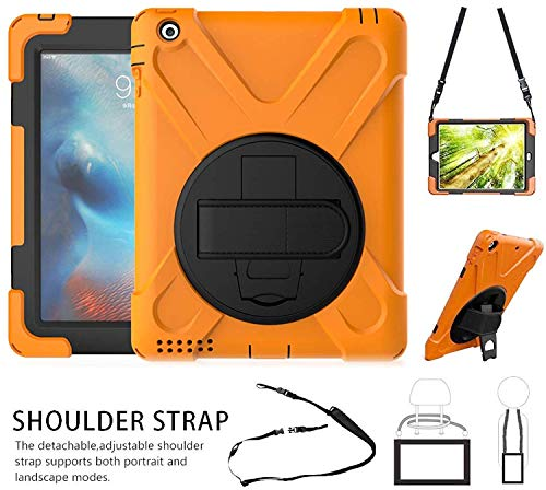 iPad 2/3/4 Case, Shockproof Heavy Duty Rugged Protective Case with Handle Hand Grip, Shoulder Strap 360 Degree Stand, for Kid Girl Boy Apple Tablet iPad 9.7 2nd/3rd/4th Gen Cover Orange