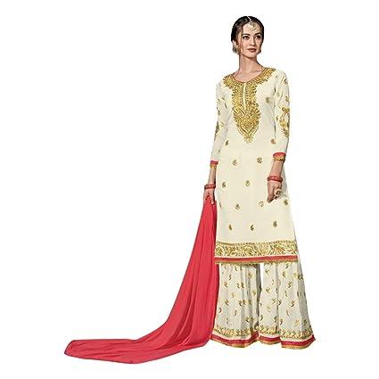 ff85b66a64 Amazon.com: Off White Stylish Pakistani Georgette Garara Suit Muslim Wedding  Formal Salwar Kameez Lawn Dress Indian Winter 7293: Home Improvement
