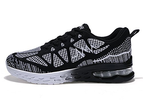 QTMS Women's Breathable Lightweight Athletic Running Shoes Sport Fitness Gym Jogging Fashion Sneakers QT825A-Black&White-40