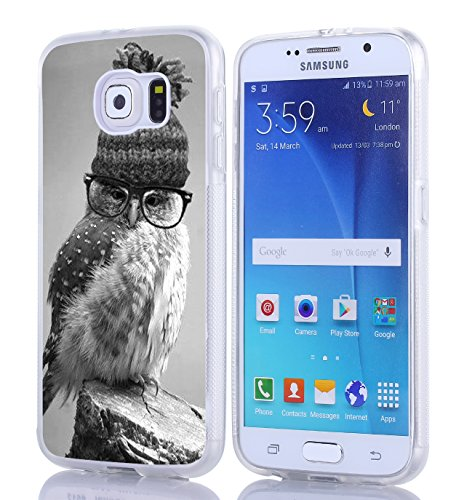 S6 Case, Samsung Galaxy S6 Case Personalized Owl In Glasses And Hat Soft TPU Side Matting Clear Unique Designer Slim Pattern Thin Protective Shockproof Drop Proof