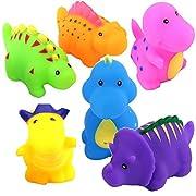 Bathtub Toys Dinosaur Water Baby Bath Toys for Toddler Days Gift - Kids Fun Squirt Toys Floating Bathroom Toys Organizer Set 6PCS