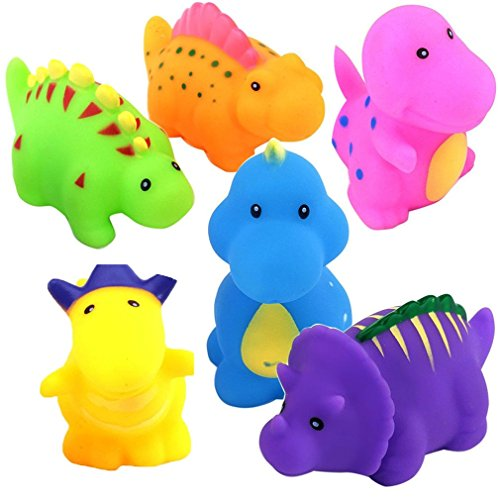 Bathtub Toys Dinosaur Water Baby Bath Toys for Toddler Days Gift - Kids Fun Squirt Toys Floating Bathroom Toys Organizer Set 6PCS Dinosaur Water