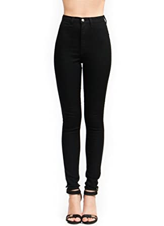 High-Waisted Skinny Jeans Black 1