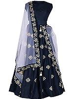 E-cloth Women's Taffeta Anarkali Lehenga Choli(Pinky_Blue_Blue_Free size)