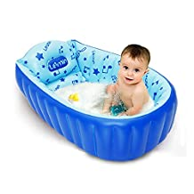 LUQING Baby Inflatable Bath Tub Shower Tub for Children Foldable Shower Basin with Foot Pump (Blue)