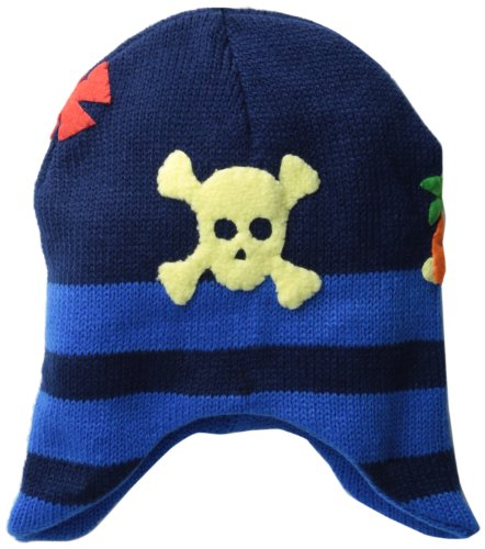 Kidorable Pirate Blue Knit Hat for Boys w/Fun X Marks the Spot, Skull/Crossbones, 1 Size Fits Most