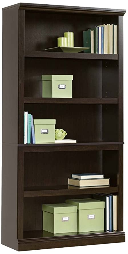 sauder 5shelf bookcase jamocha wood finish