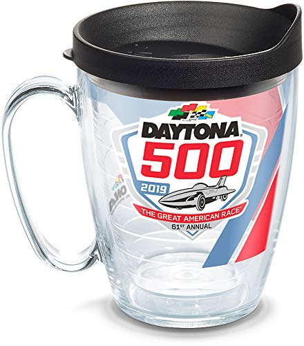 Tervis 1314819 NASCAR Daytona 500 Stripes Insulated Tumbler with Wrap Lid, 16 oz, Clear