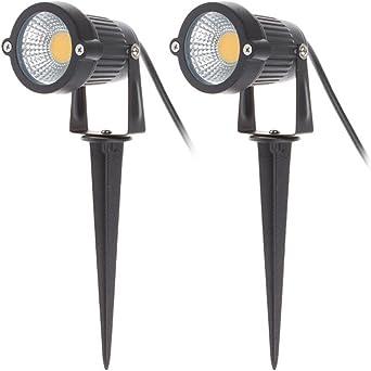 2 x Focos Proyector LED con Estaca Exterior Jardín IP65 COB 5W 220V Blanco Cálido: Amazon.es: Iluminación