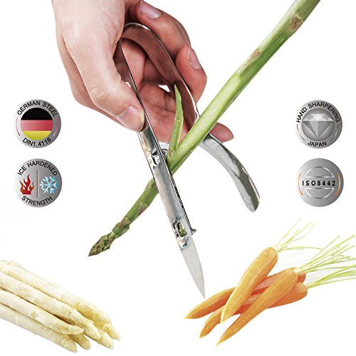 Asparagus Long Vegetable Peeler Chef Tool, Multifunction Carrot, Cucumber Peeler- Tong Construction With Sharpened Blade