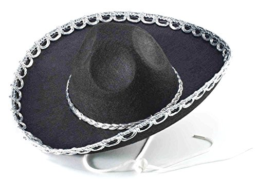 Forum Novelties Mini Brim Mexican Western Sombrero Black Costume Hat -