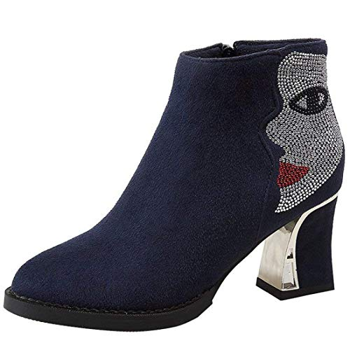 Vitalo Womens Chunky High Heel Zip Up Ankle Boots with Rhinestone Autumn Winter Booties Blue